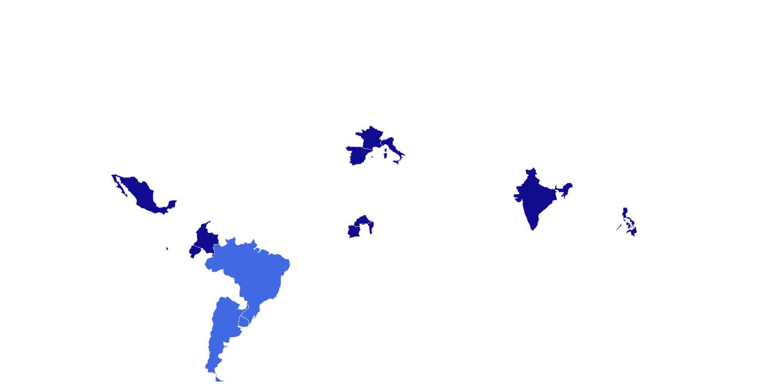 França, Itália, Espanha, Uruguai, Argentina, Brasil, México, Burkina Fasso, Benin, Costa do Marfim, Índia, Filipinas, Colômbia e Equador